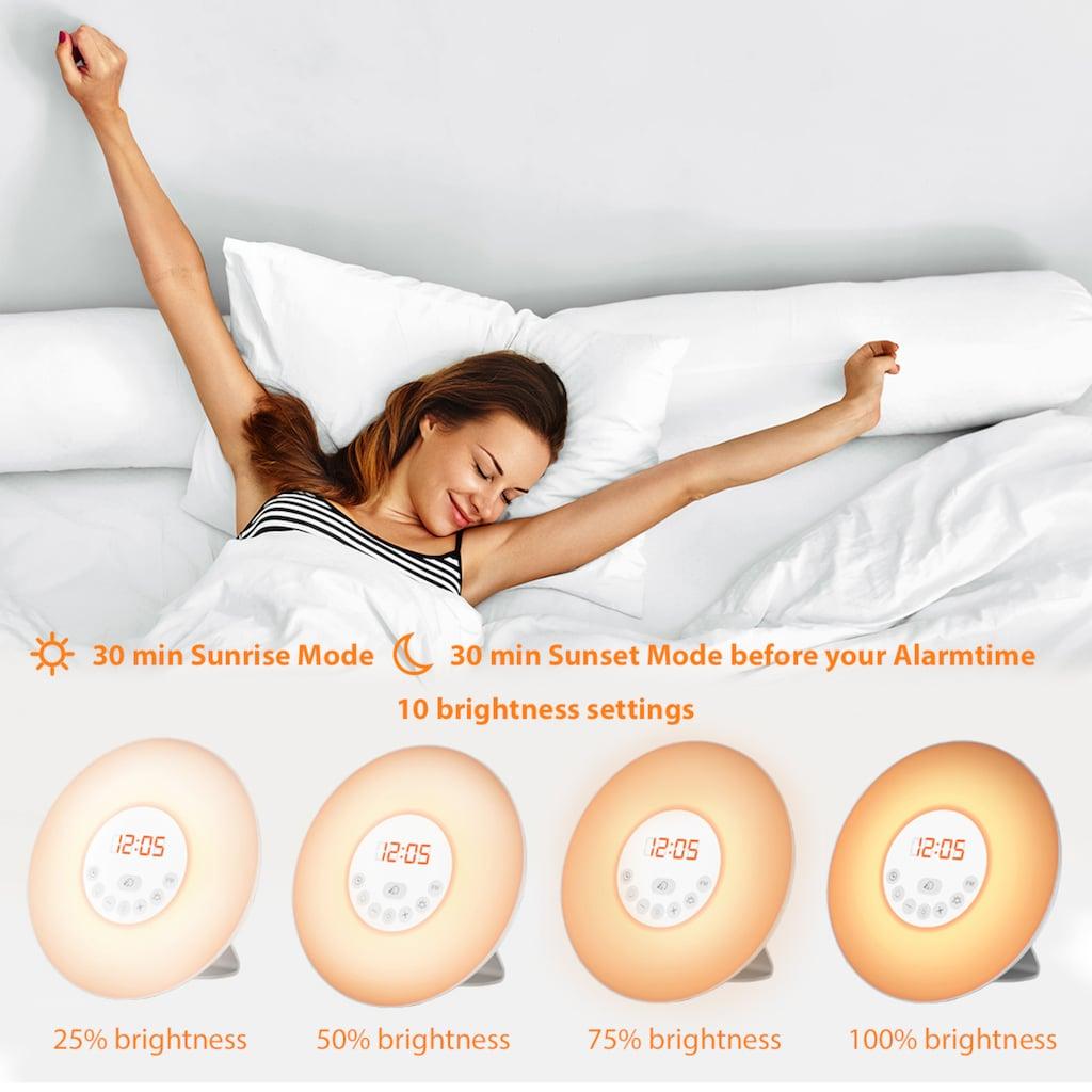 B.K.Licht LED Nachttischlampe, LED-Board, Warmweiß, LED Lichtwecker Wake up Light Radiowecker Sonnenaufgangfunktion Kinderwecker