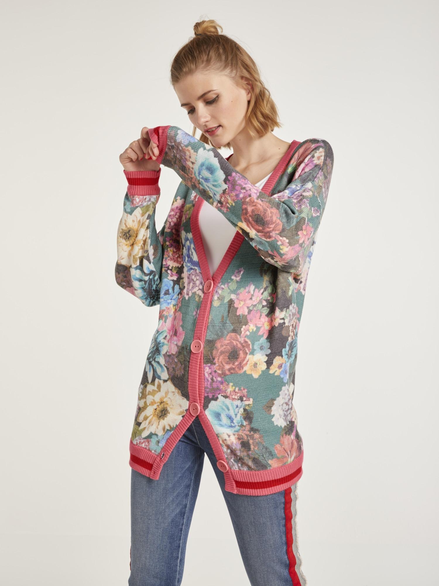 heine STYLE Strickjacke mit Blumenmuster | Bekleidung > Strickjacken & -mäntel | Bunt | Viskose | Heine Style