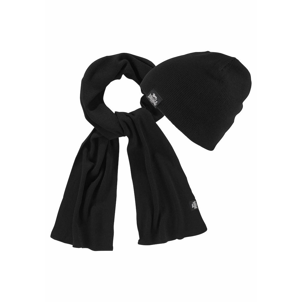 Lonsdale Strickmütze »LEAFIELD«, (Packung, 2 St., mit Schal), Set aus Schal undMütze