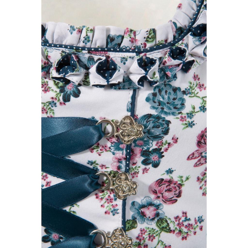 MarJo Dirndl »Dagoba«, (2 tlg.), kurz mit All-Over Blümchendruck und Tüllschürze mit Stickerei und Bogensaum