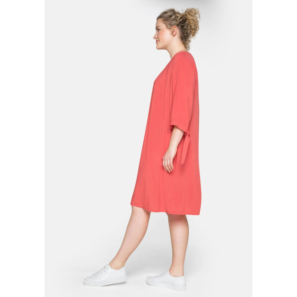 Sheego Jerseykleid, mit gerafften 3/4-Ärmeln und Bindeband