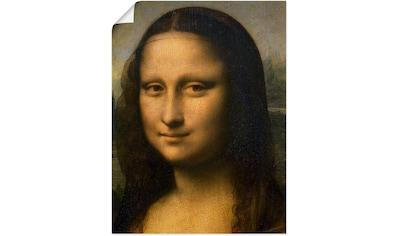 Artland Wandbild »Mona Lisa. Detail Kopf. 1503-1506«, Frau, (1 St.), in vielen Größen... kaufen