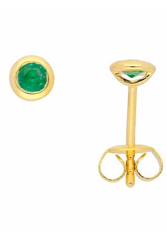 Adelia´s Paar Ohrstecker »585 Gold Ohrringe / Ohrstecker mit Smaragd«, Goldschmuck für Damen kaufen