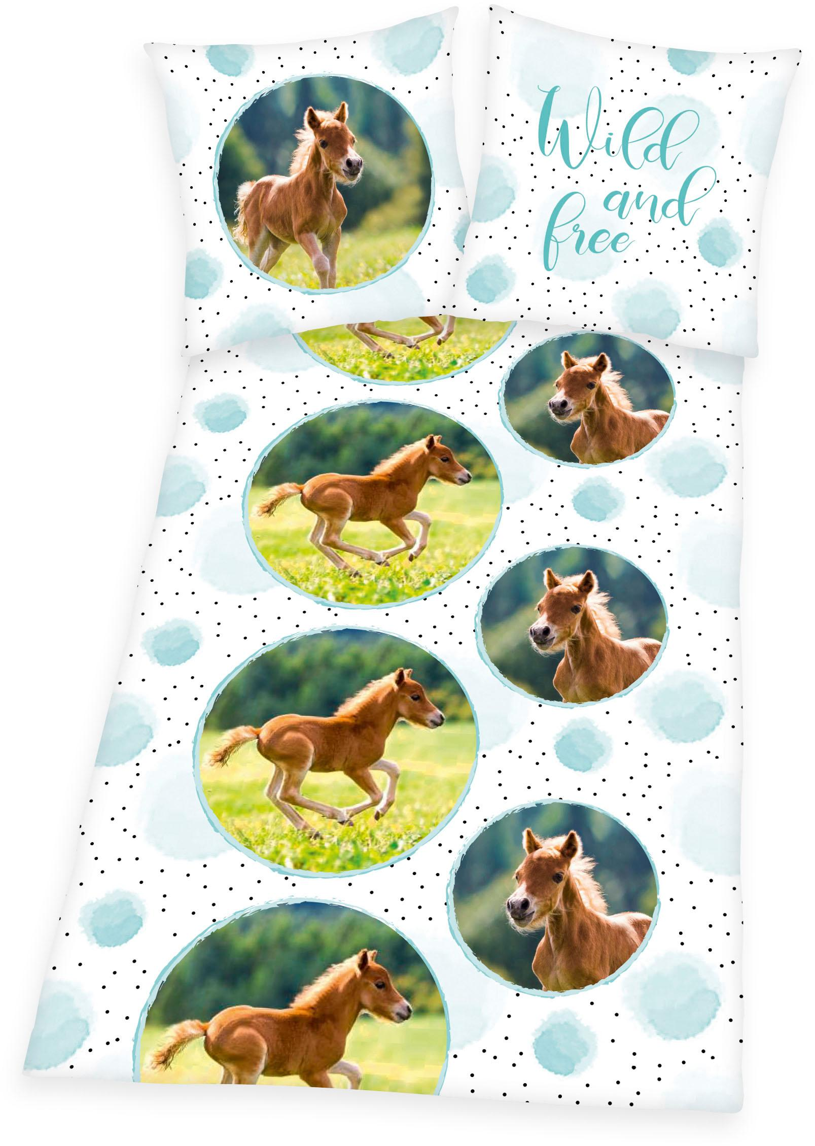 Kinderbettwäsche Young Collection Pferde Herding Young Collection | Kinderzimmer > Textilien für Kinder > Kinderbettwäsche | Weiß | Herding Young Collection