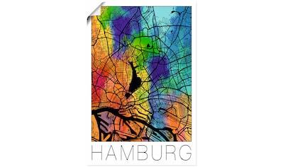Artland Wandbild »Retro Karte Hamburg Deutschland Aquarell«, Deutschland, (1 St.), in... kaufen