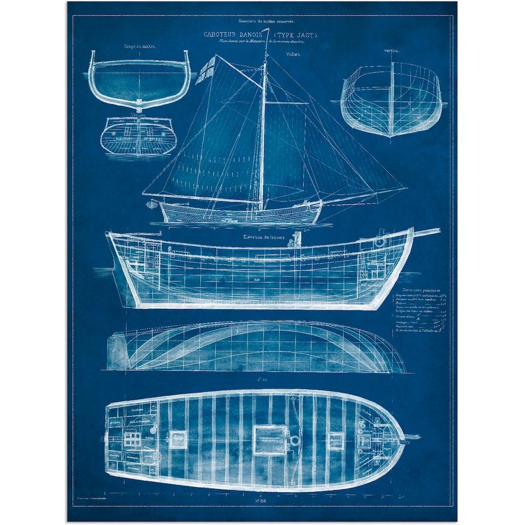 Artland Wandbild »Entwurf für ein Antikes Schiff II«, Boote & Schiffe, (1 St.), in vielen Größen & Produktarten - Alubild / Outdoorbild für den Außenbereich, Leinwandbild, Poster, Wandaufkleber / Wandtattoo auch für Badezimmer geeignet