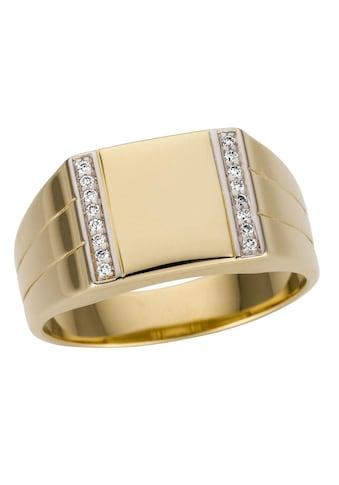 Firetti Goldring »Glanz, bicolor, rhodiniert, massiv, seitlich mit kleinen Rillen«,... kaufen