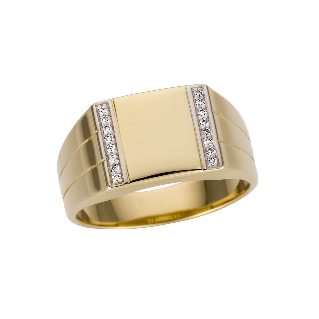 Firetti Goldring »Glanz, bicolor, rhodiniert, massiv, seitlich mit kleinen Rillen«, mit Brillanten