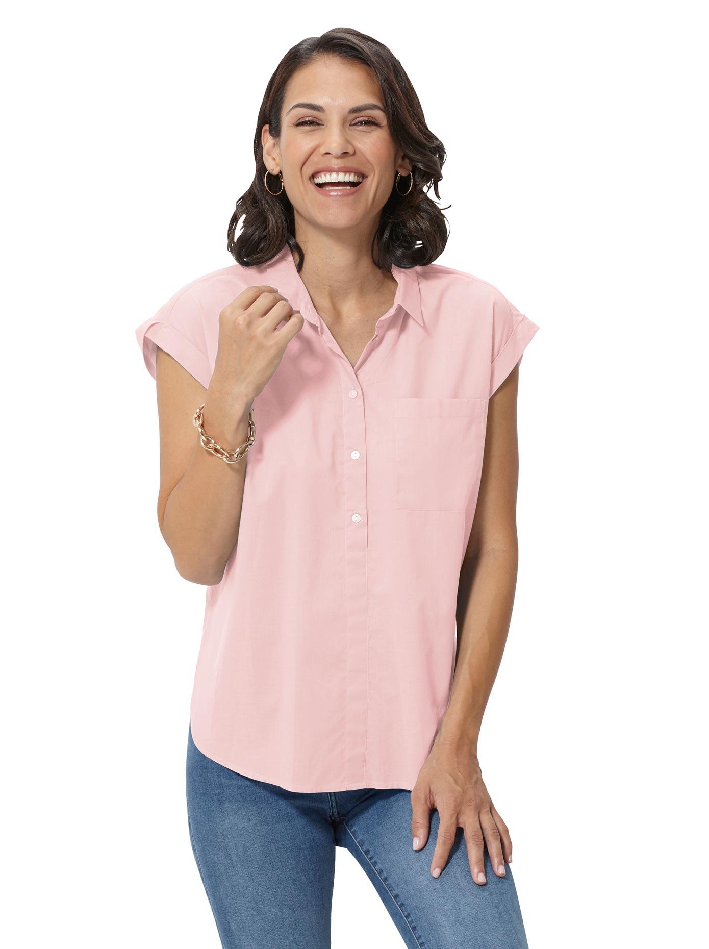 Casual Looks Bluse mit schmalem Hemdkragen