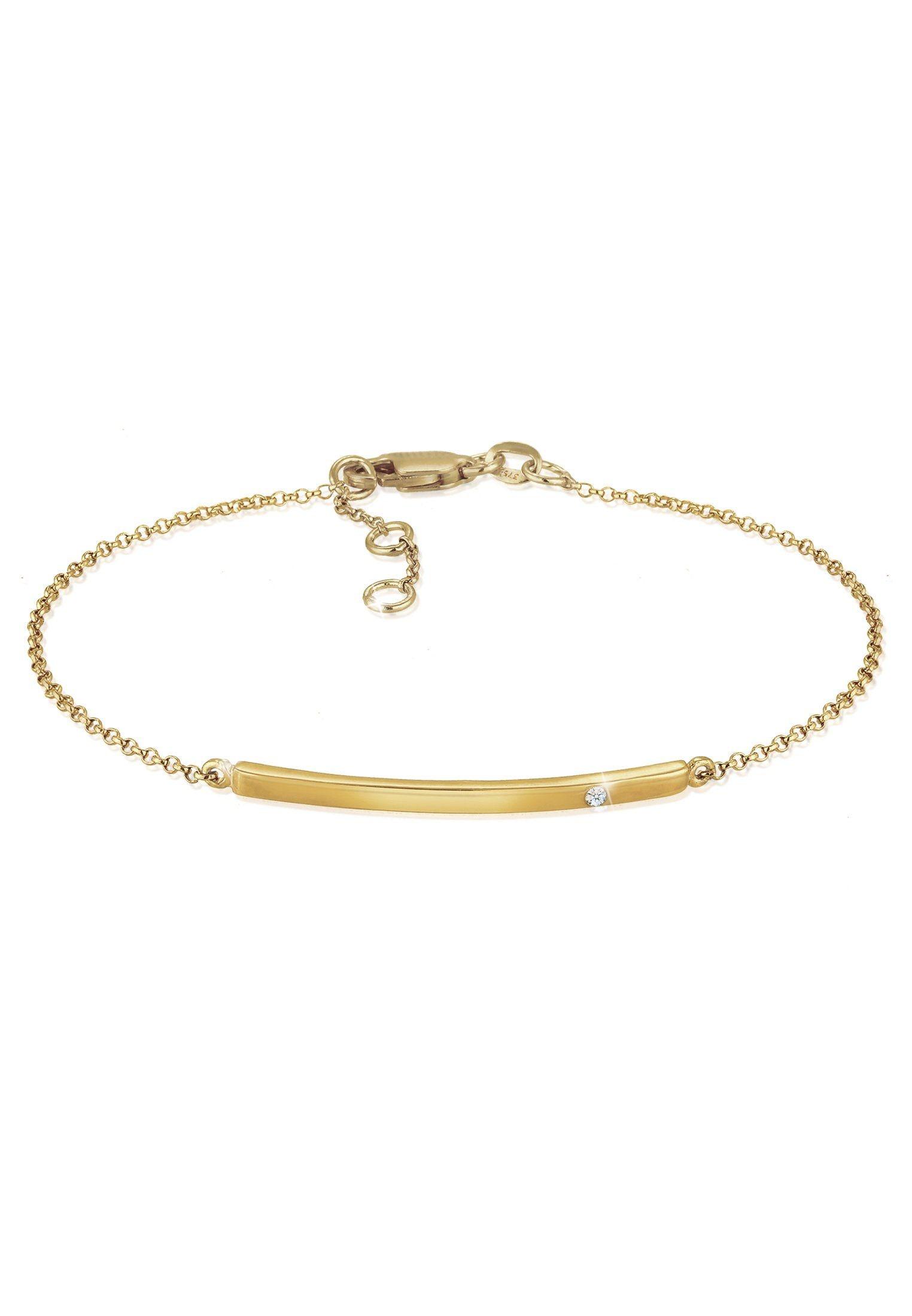 Diamore Armband Erbskette Geo Stab Diamant (002 ct) 375 Gelbgold | Schmuck > Armbänder > Goldarmbänder | Goldfarben | Diamore