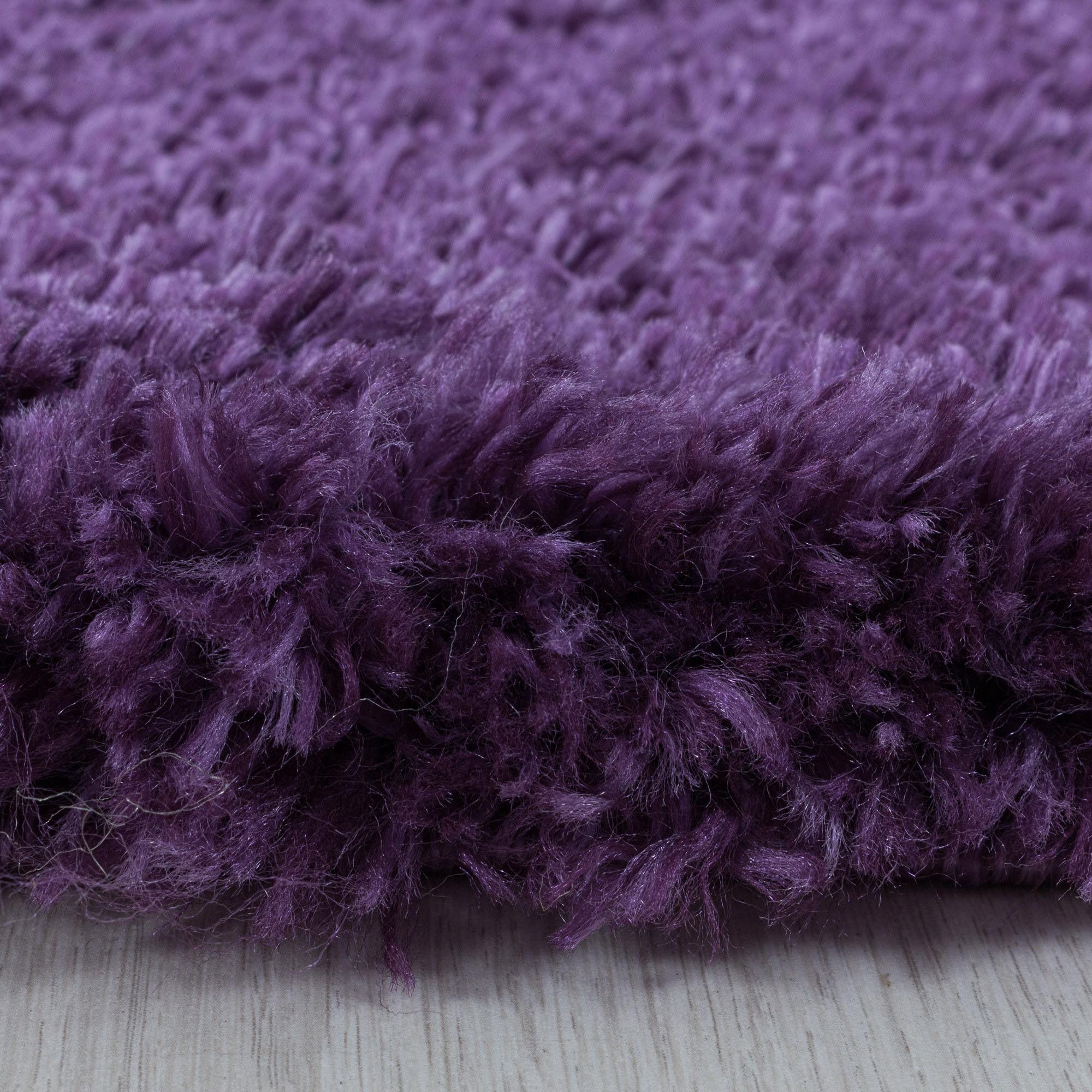 Ayyildiz Hochflor-Teppich FLUFFY 3500, rund, 50 mm Höhe lila Wohnzimmerteppiche Teppiche nach Räumen