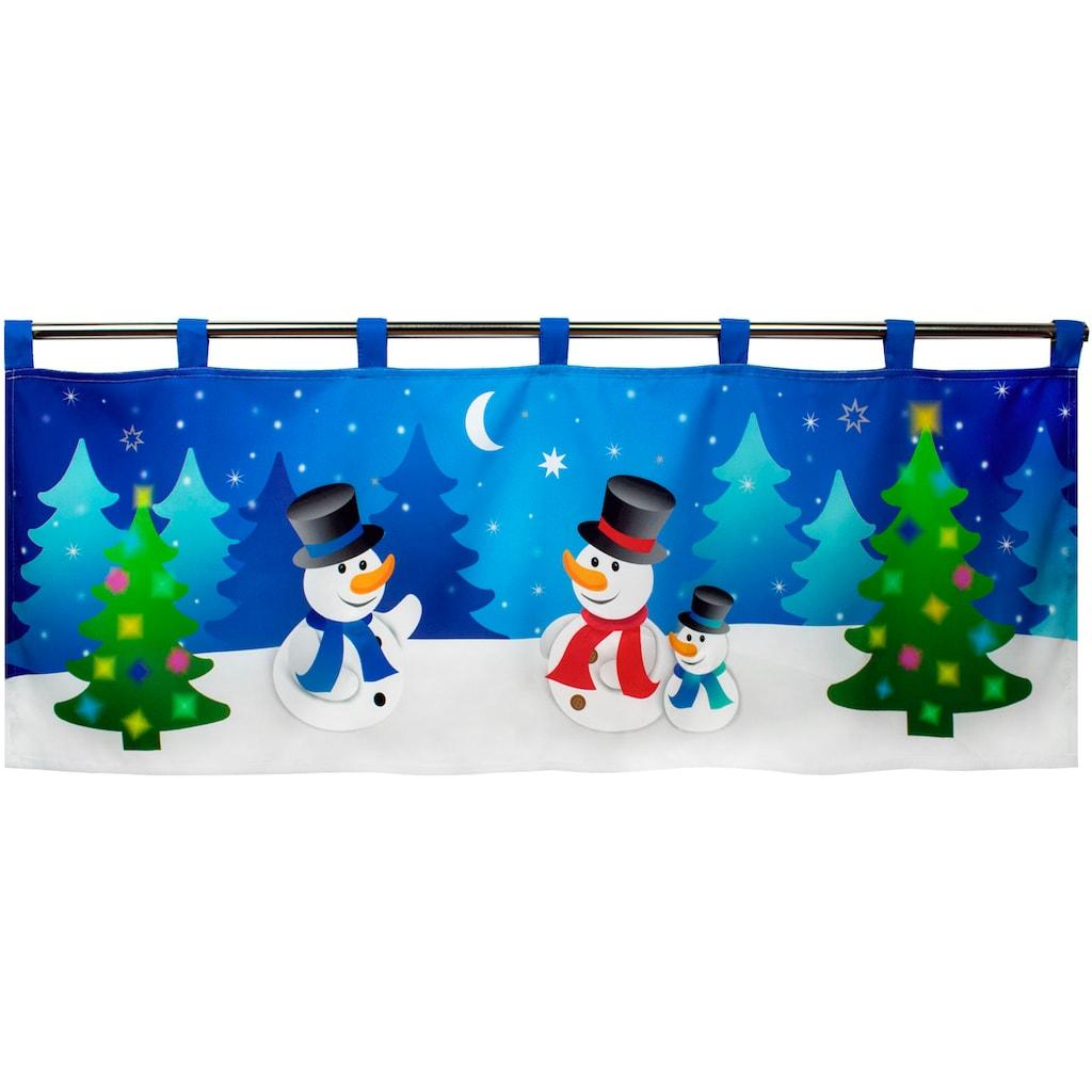 Delindo Lifestyle Scheibengardine »Schneemänner«, mit Schlaufenaufhängung, für die Küche, mit LED-Beleuchtung