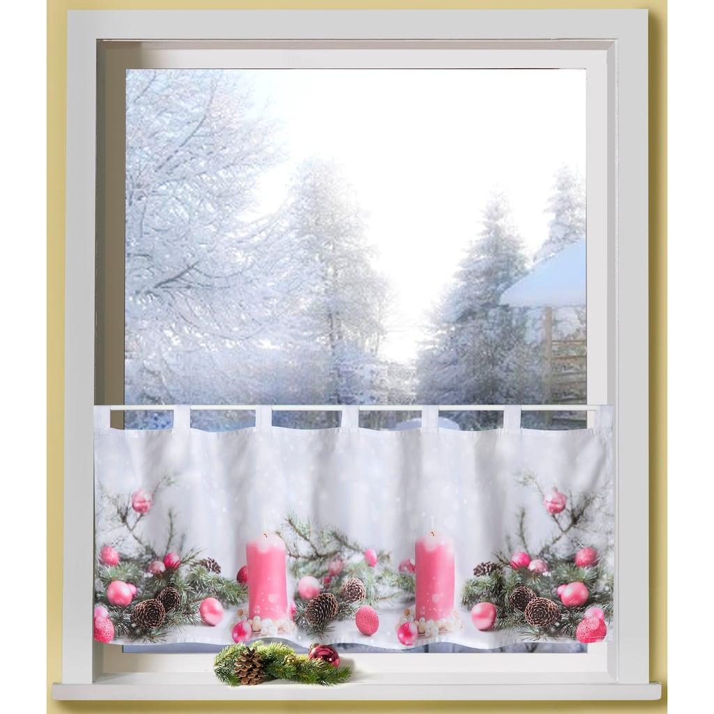 Scheibengardine, »Rosa Kerzen«, Weckbrodt, Schlaufen 1 Stück