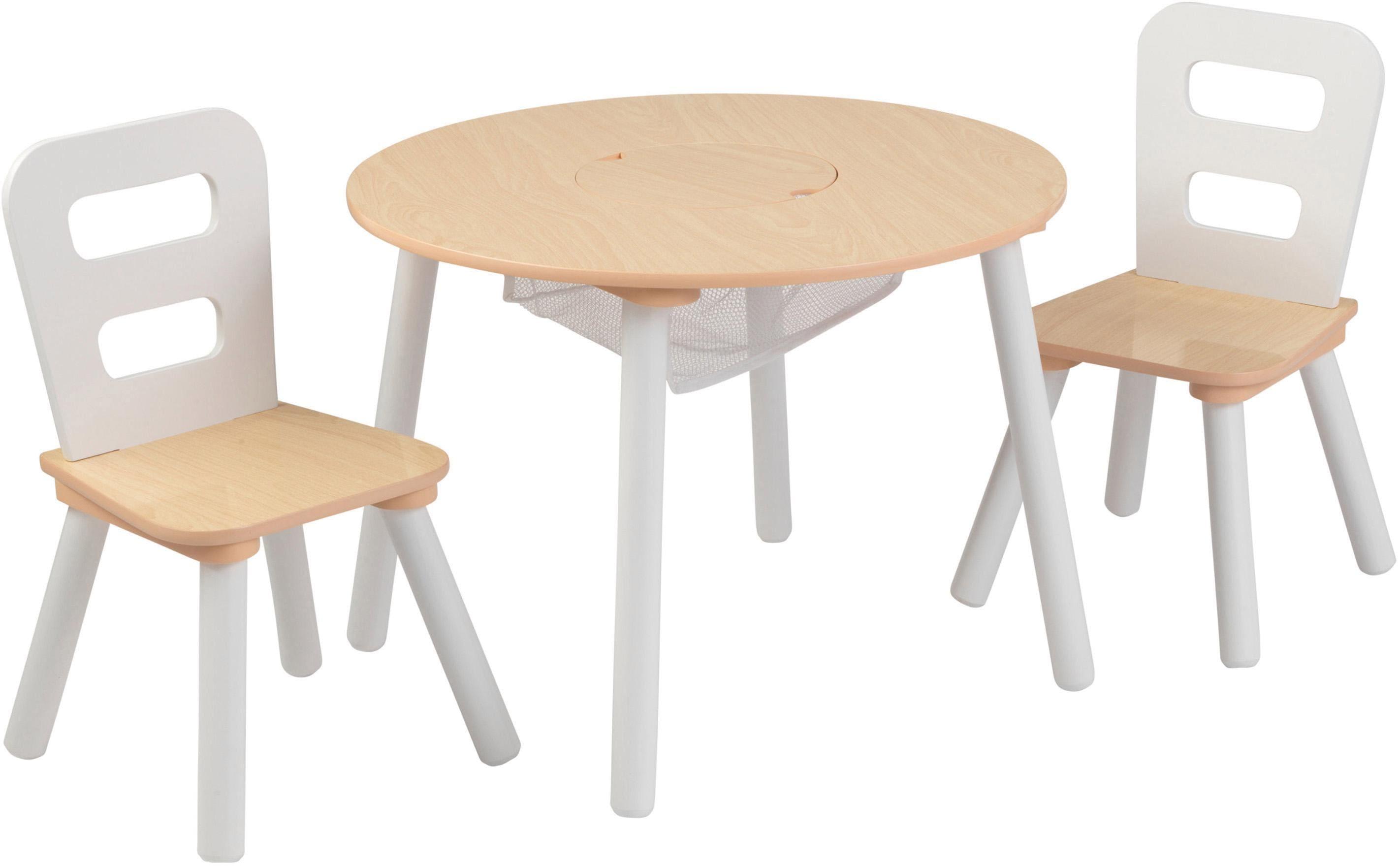 KidKraft Kindersitzgruppe Runder Aufbewahrungstisch (3-tlg) beige Kinder Ab 3-5 Jahren Altersempfehlung Sitzmöbel-Sets