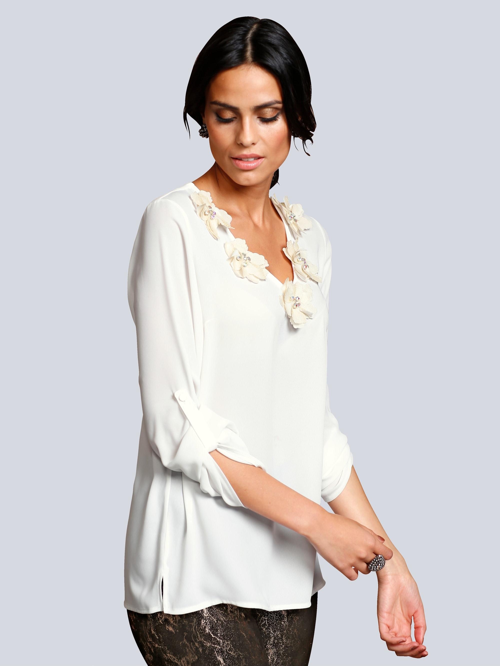 Alba Moda Bluse mit strassverzierten Stoffblumen, weiß, Damen