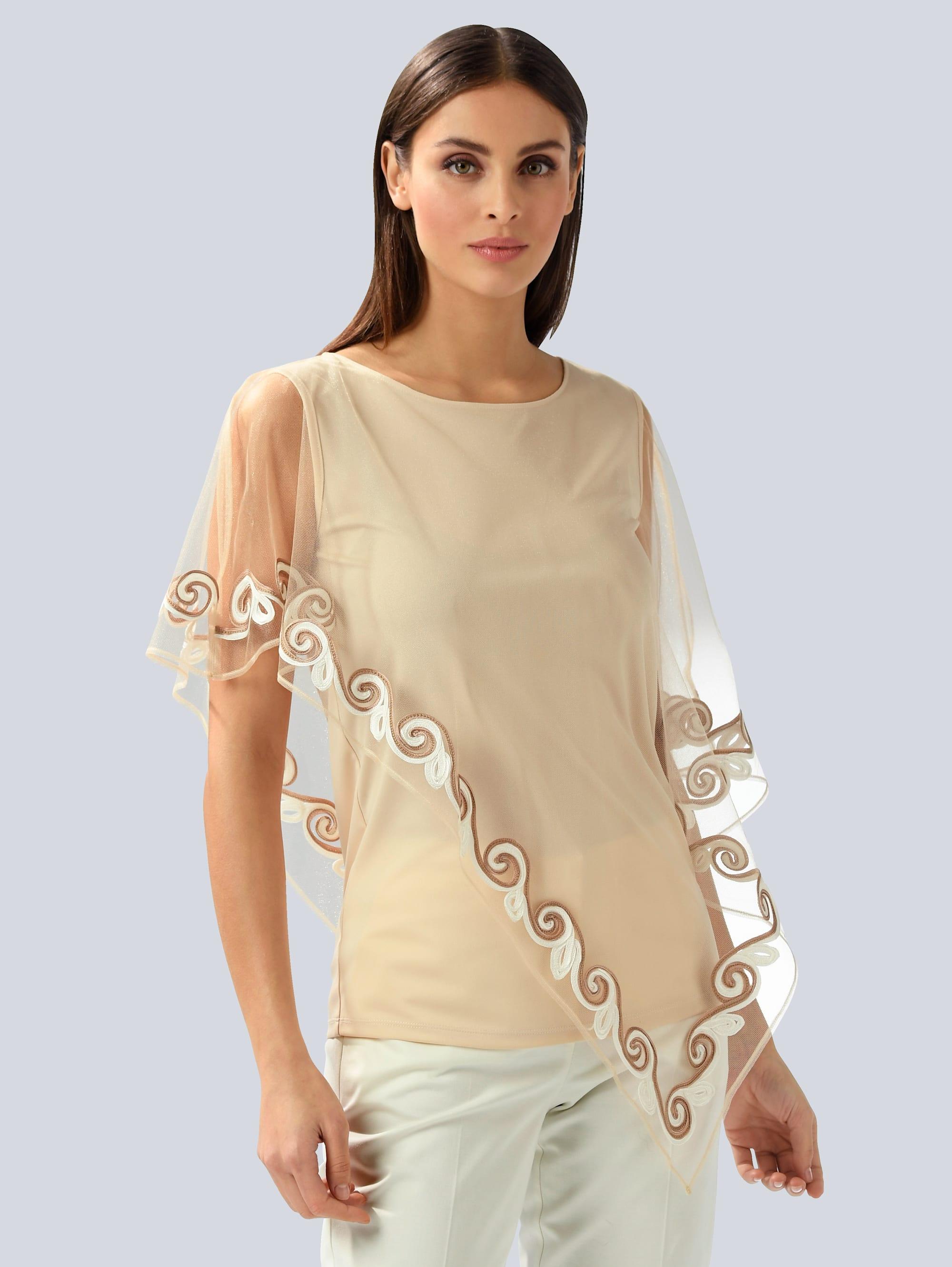 Alba Moda Spitzenbluse, mit Spitze beige Damen Spitzenbluse Spitzenblusen Blusen Tuniken