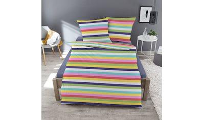 TRAUMSCHLAF Bettwäsche »Rainbow«, buntes Streifendesign für den Winter kaufen