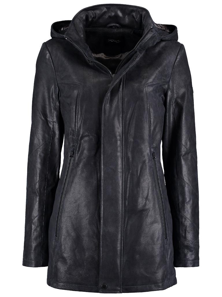 DNR Jackets Damen Lederjacke mit Kapuze und verdecktem Reißverschluss