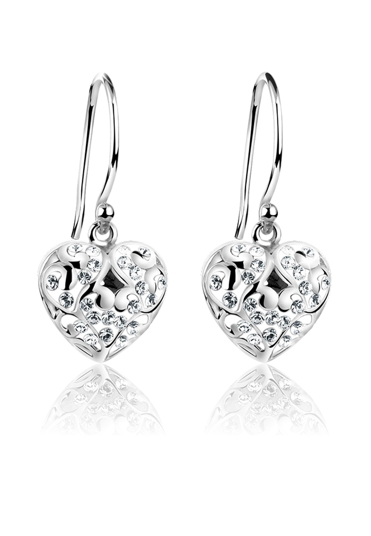 Ohrhänger Silber 925  mit ORIGINAL SWAROVSKI Kristalle Herz