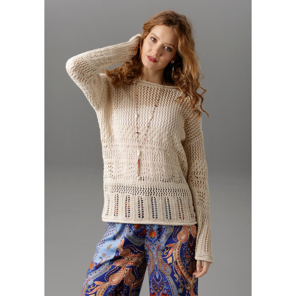 Aniston CASUAL Rundhalspullover, mit trendigen Rollkanten