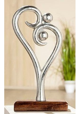 GILDE Dekoobjekt »Skulptur Figura - Innigkeit«, Höhe 30 cm, aus Metall, Sockel aus Holz, Herz Form, Wohnzimmer kaufen
