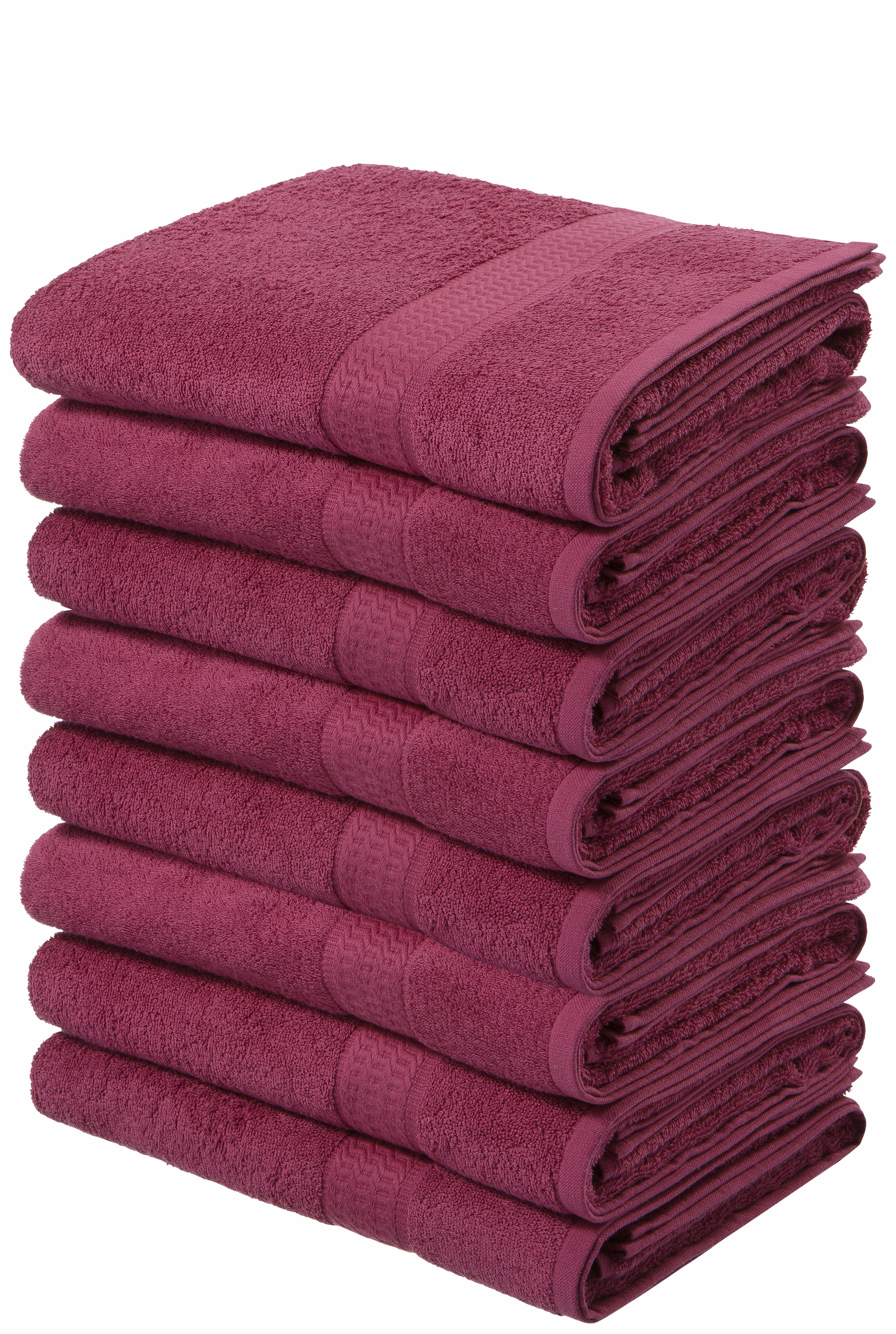 my home Handtücher Juna, (8 St.), im Vorteilspack rosa Badetücher