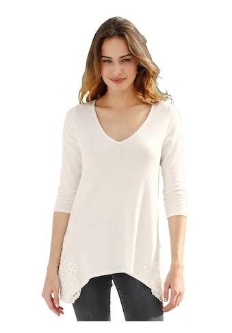 Amy Vermont V-Ausschnitt-Pullover, mit seitlich aufgesetzter Spitze kaufen
