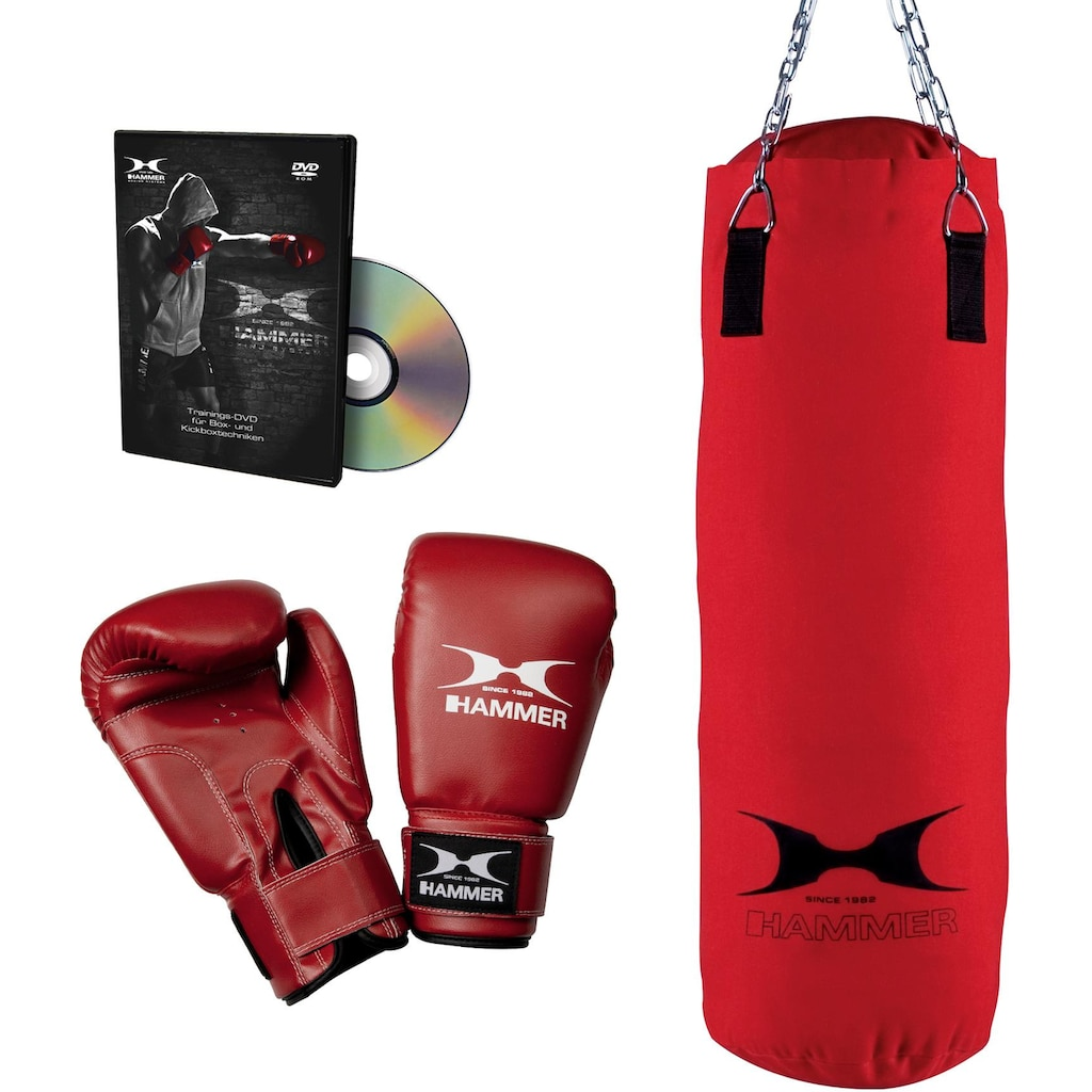 Hammer Boxsack »Fit«, (Set, mit Trainings-DVD-mit Boxhandschuhen)