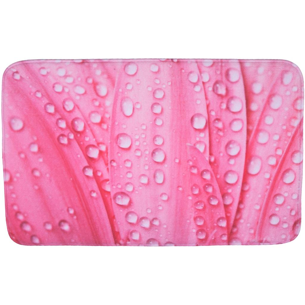 Sanilo Badematte »Pink Flower«, Höhe 15 mm, schnell trocknend, Memory Schaum