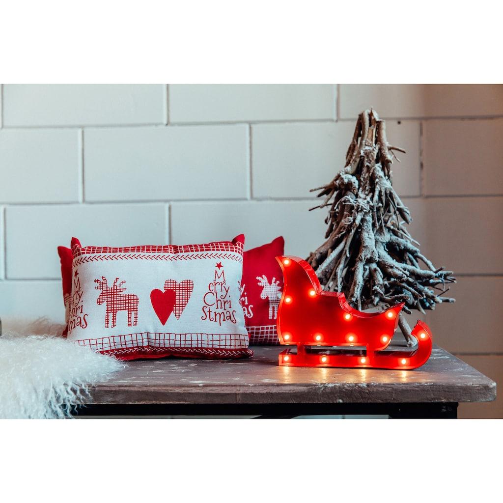 MARQUEE LIGHTS LED Dekolicht »Weihnachtsschlitten«, 1 St., Warmweiß, Wandlampe, Tischlampe Christmas Sled mit 14 festverbauten LEDs - 23cm Breit und 17cm hoch