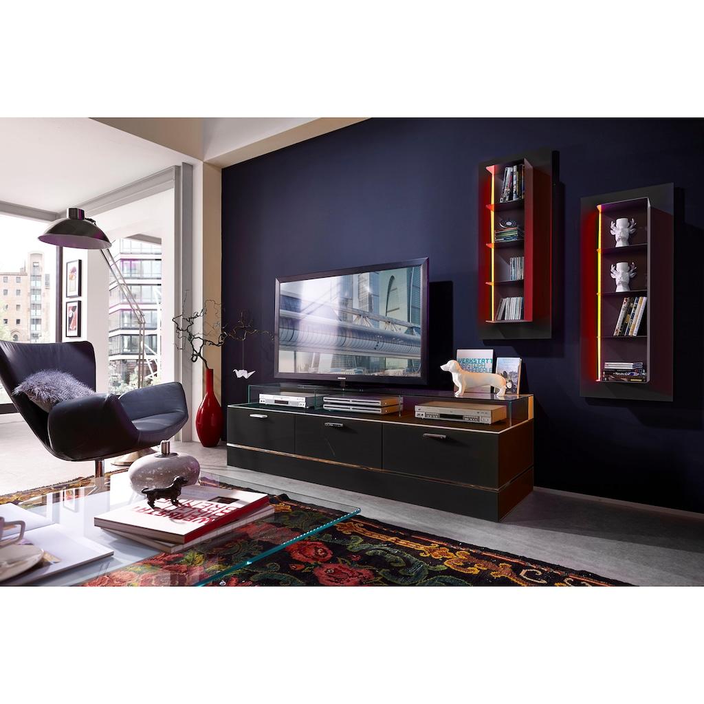 LEONARDO TV-Bank »CUBE«, für die Lowboards, mit 3 Glasfächern, Breite 189 cm