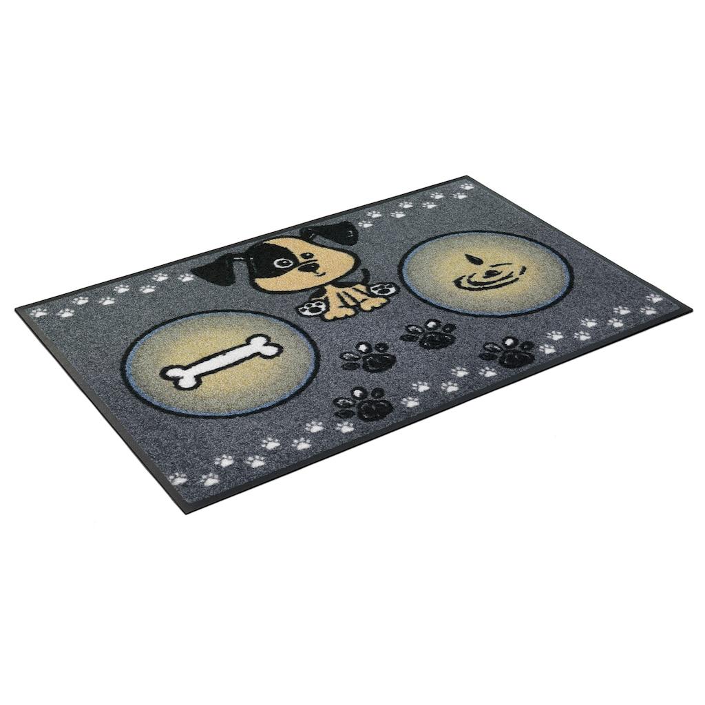 wash+dry by Kleen-Tex Fußmatte »Hundemahlzeit«, rechteckig, 7 mm Höhe, Schmutzfangmatte, In- und Outdoor geeignet, waschbar