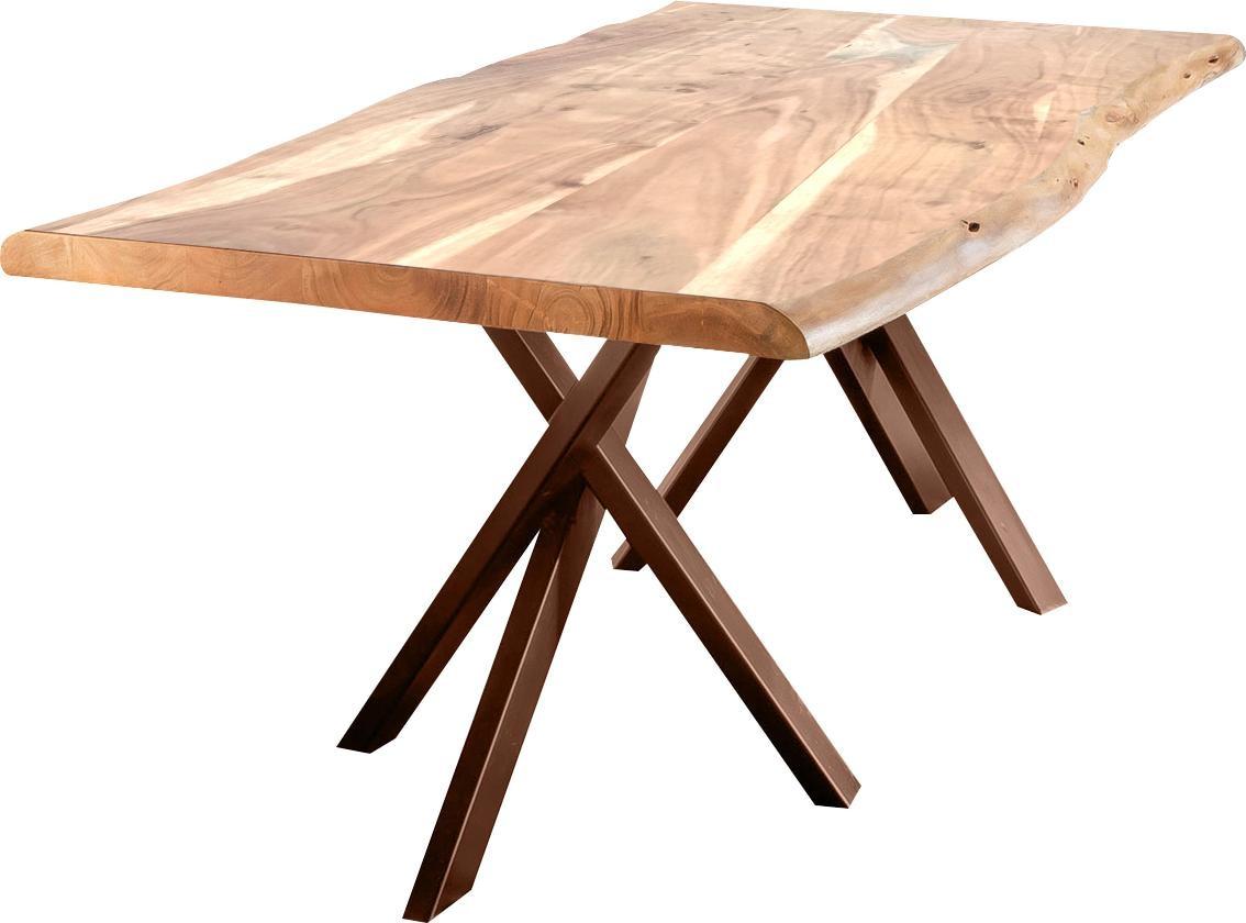 SIT Esstisch Tables mit Baumkante und extravagantem Gestell aus Metall
