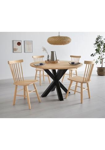 OTTO products Esstisch »Lennard«, aus massiver geölter Wildeiche, mit veganem und zertifizierten Bio-Öl behandelt, runde Tischplatte mit sternförmigem Metallgestell kaufen