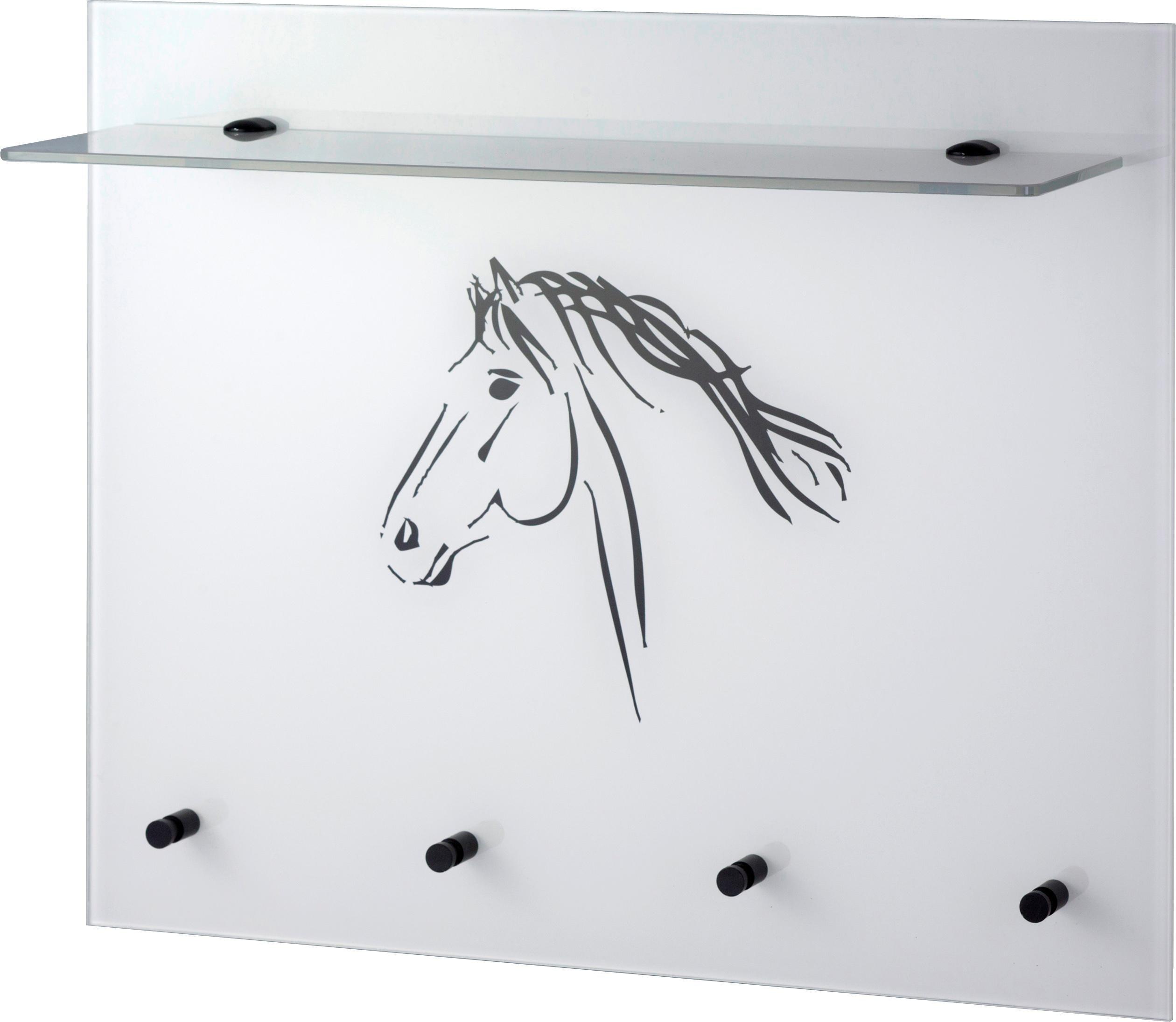 GGG MÖBEL Wandgarderobe »Pferd« mit Glasablage