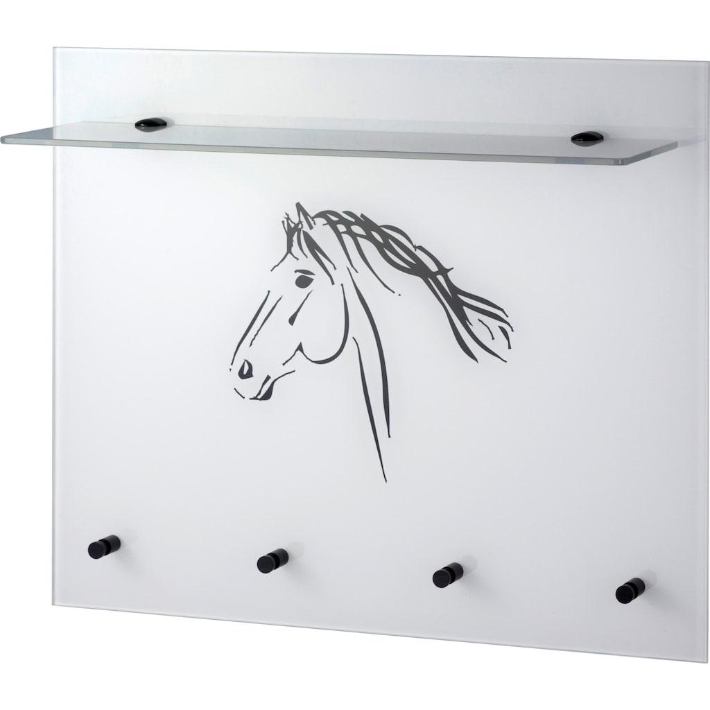GGG MÖBEL Garderobenpaneel »Pferd«, aus Glas mit Ablage