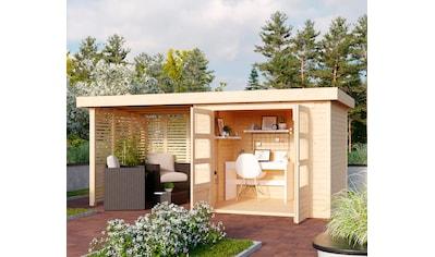 KARIBU Set: Gartenhaus »Arnis 3«, BxT: 491x238 cm, mit Anbau inkl. Seiten -  und Rückwand kaufen