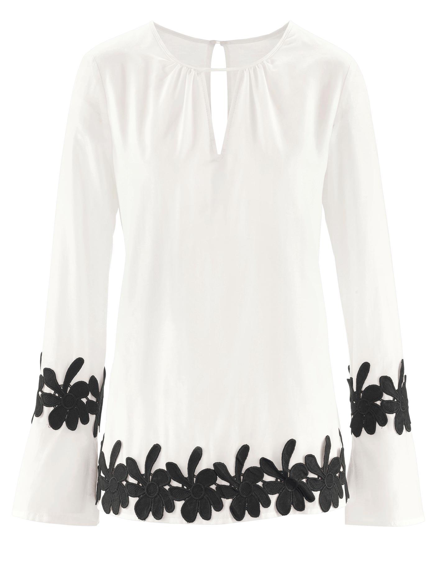 création L Bluse mit breiter Blütenspitzen-Bordüre