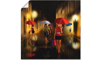 Artland Wandbild »Frauen beim Einkaufen im Regen«, Frau, (1 St.), in vielen Größen & Produktarten - Alubild / Outdoorbild für den Außenbereich, Leinwandbild, Poster, Wandaufkleber / Wandtattoo auch für Badezimmer geeignet kaufen