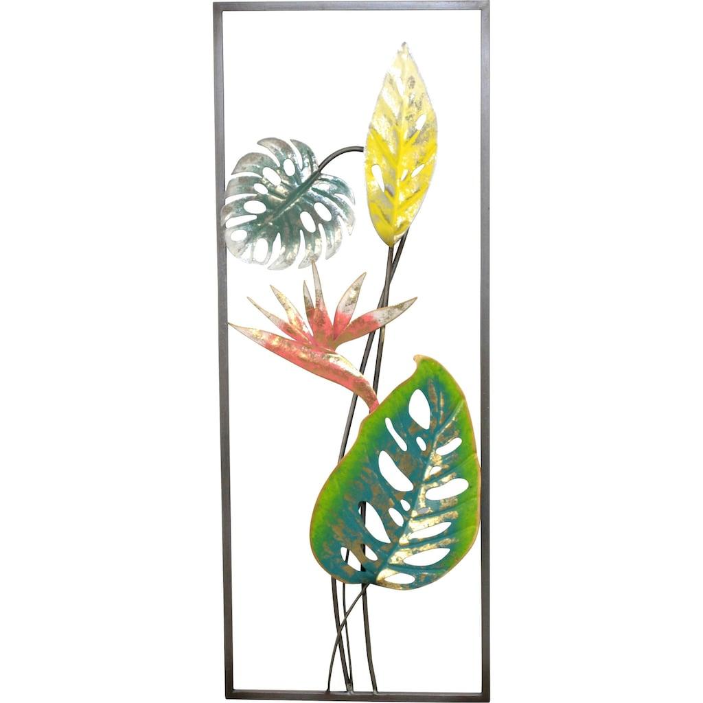 HOFMANN LIVING AND MORE Wanddekoobjekt »Strelizien«, Wanddekoration aus Metall, Motiv Blätter