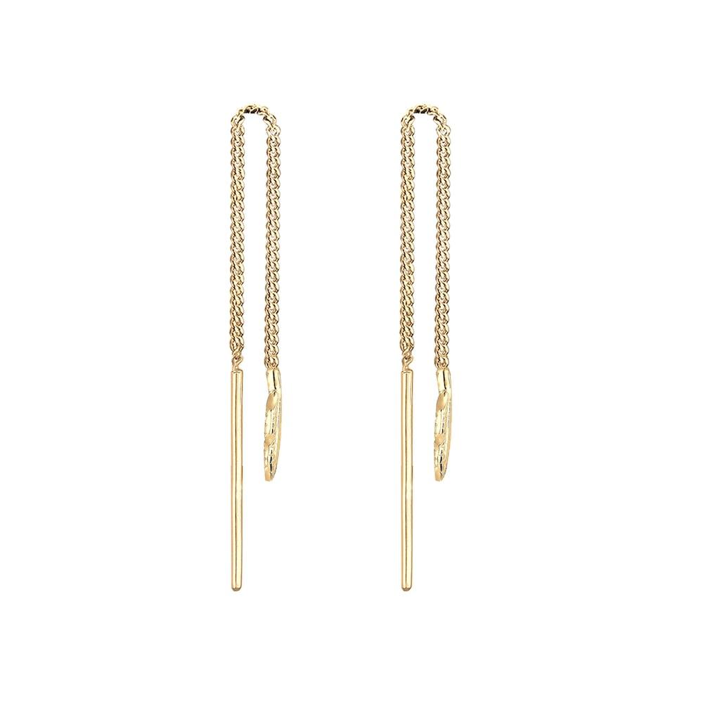 Elli Paar Ohrhänger »Feder Boho Hippie Durchziehen 925 Silber«