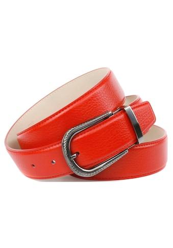 Anthoni Crown Ledergürtel, in rot mit Dornschließe in Diamant-schwarz kaufen