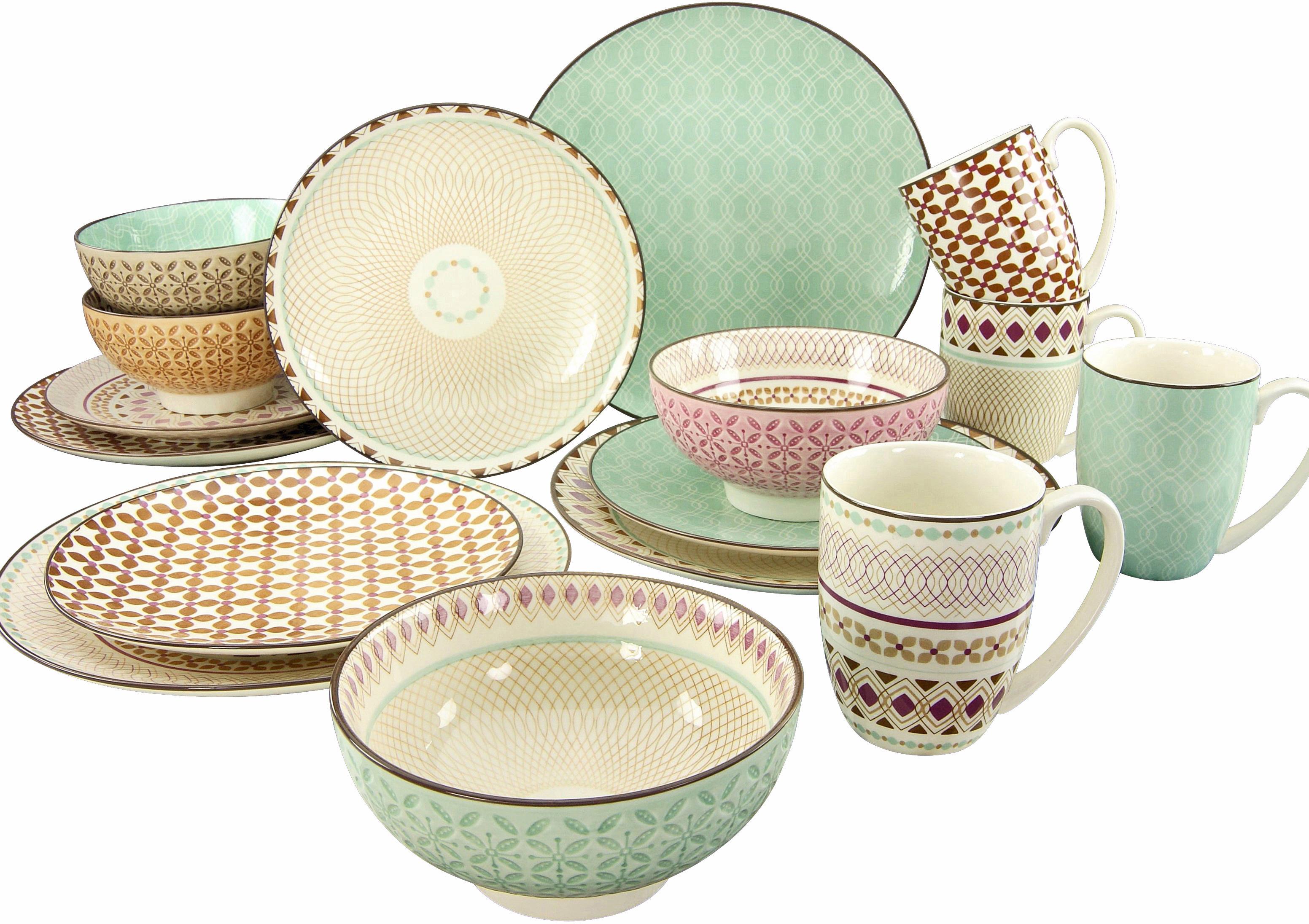 CreaTable Kombiservice Mandala, (Set, 16 tlg.), 4 Designs bunt Geschirr-Sets Geschirr, Porzellan Tischaccessoires Haushaltswaren