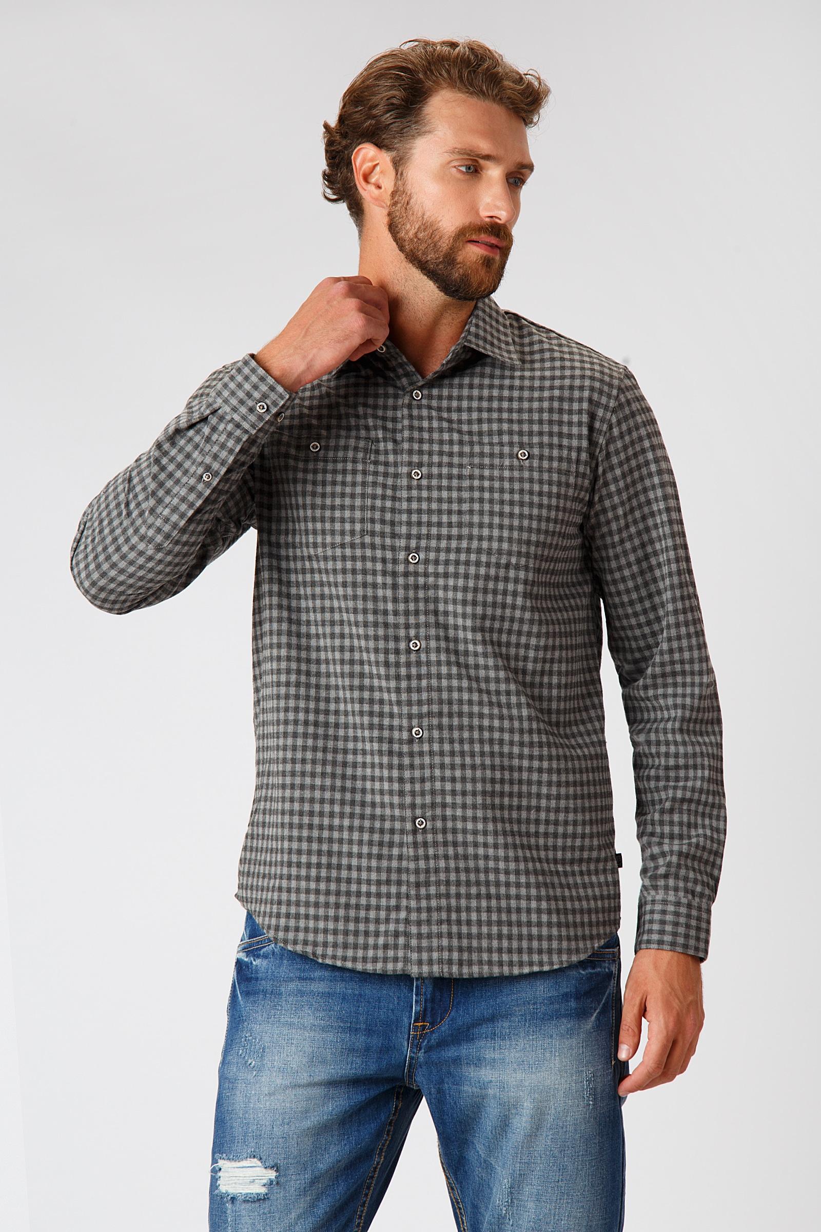 Finn Flare Freizeithemd im angesagten Design | Bekleidung > Hemden > Freizeithemden | Grau | Viskose | Finn Flare