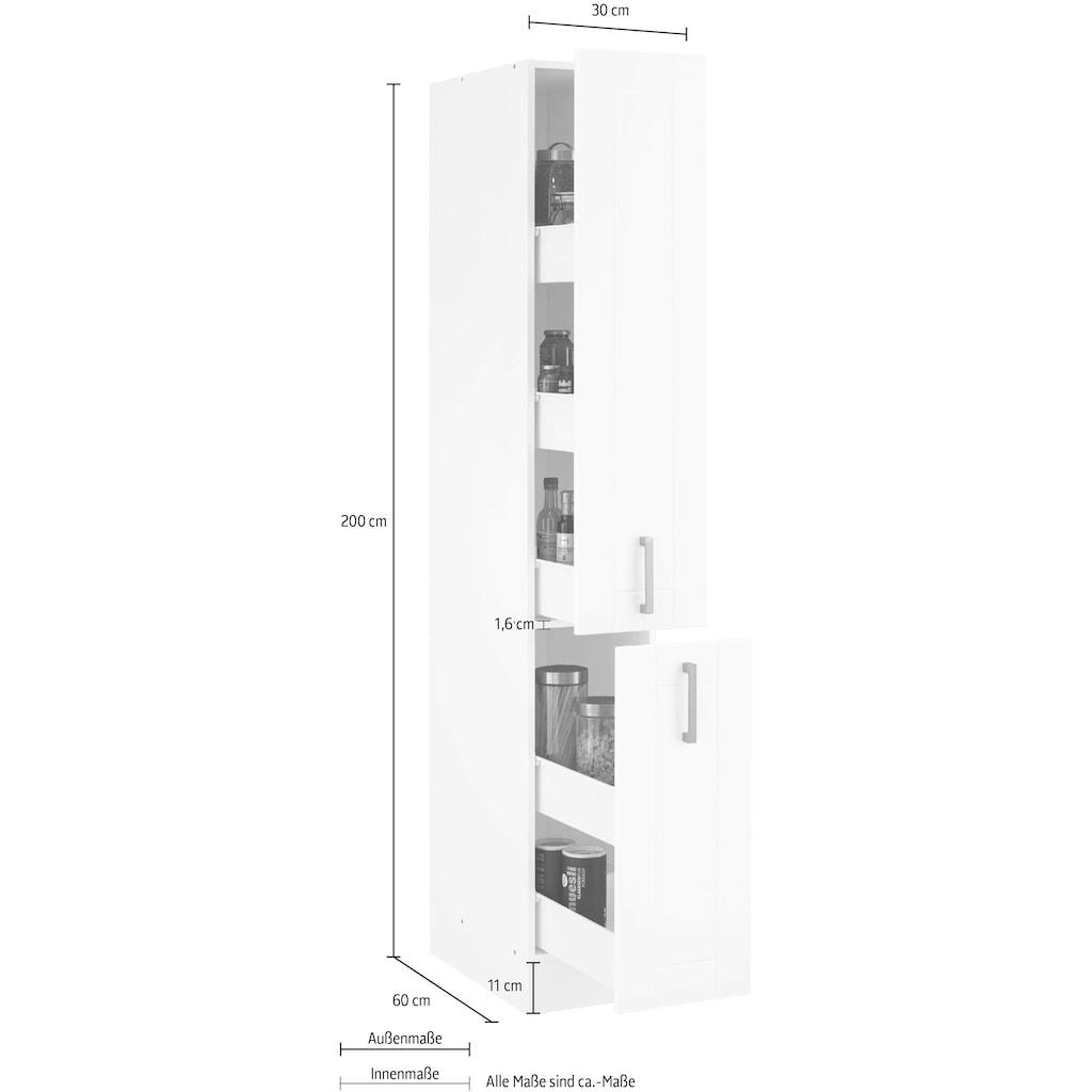 HELD MÖBEL Apothekerschrank »Tinnum«, 30 cm breit, 200 cm hoch, Metallgriffe, MDF Fronten, Auszüge für viel Stauraum