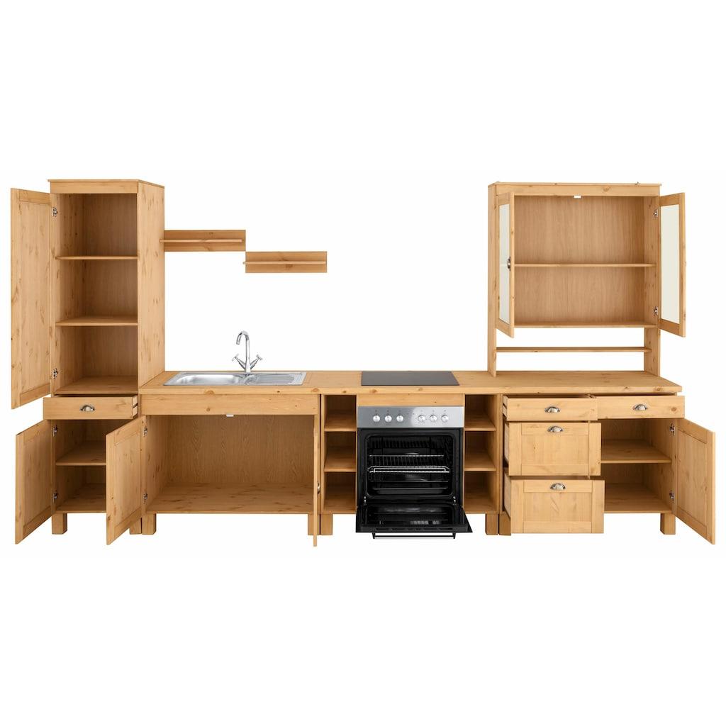 Home affaire Küchenzeile »Oslo«, ohne E-Geräte, Breite 350 cm, 35 mm starke durchgehende Arbeitsplatte, aus massiver Kiefer, mit Metallgriffen, Landhaus-Küche