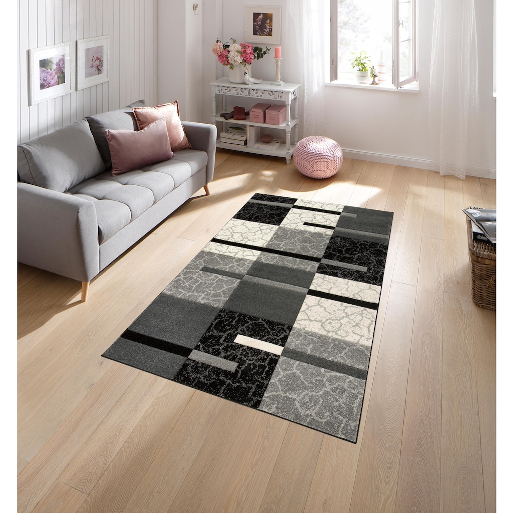 my home Teppich »Lucien«, rechteckig, 10 mm Höhe, weiche Haptik, Wohnzimmer