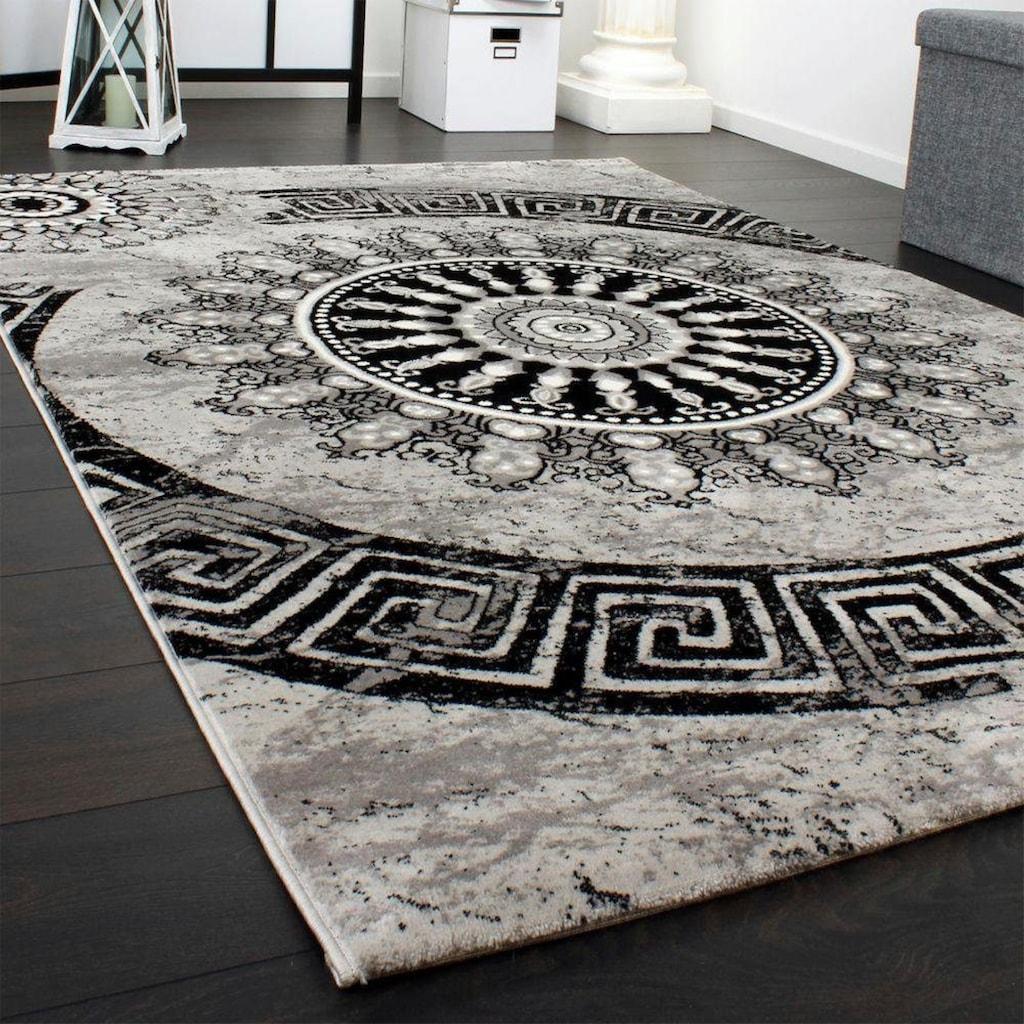 Paco Home Teppich »Tibesti 447«, rechteckig, 16 mm Höhe, Kurzflor, Ornamente in dezenten Farbtöne, Wohnzimmer
