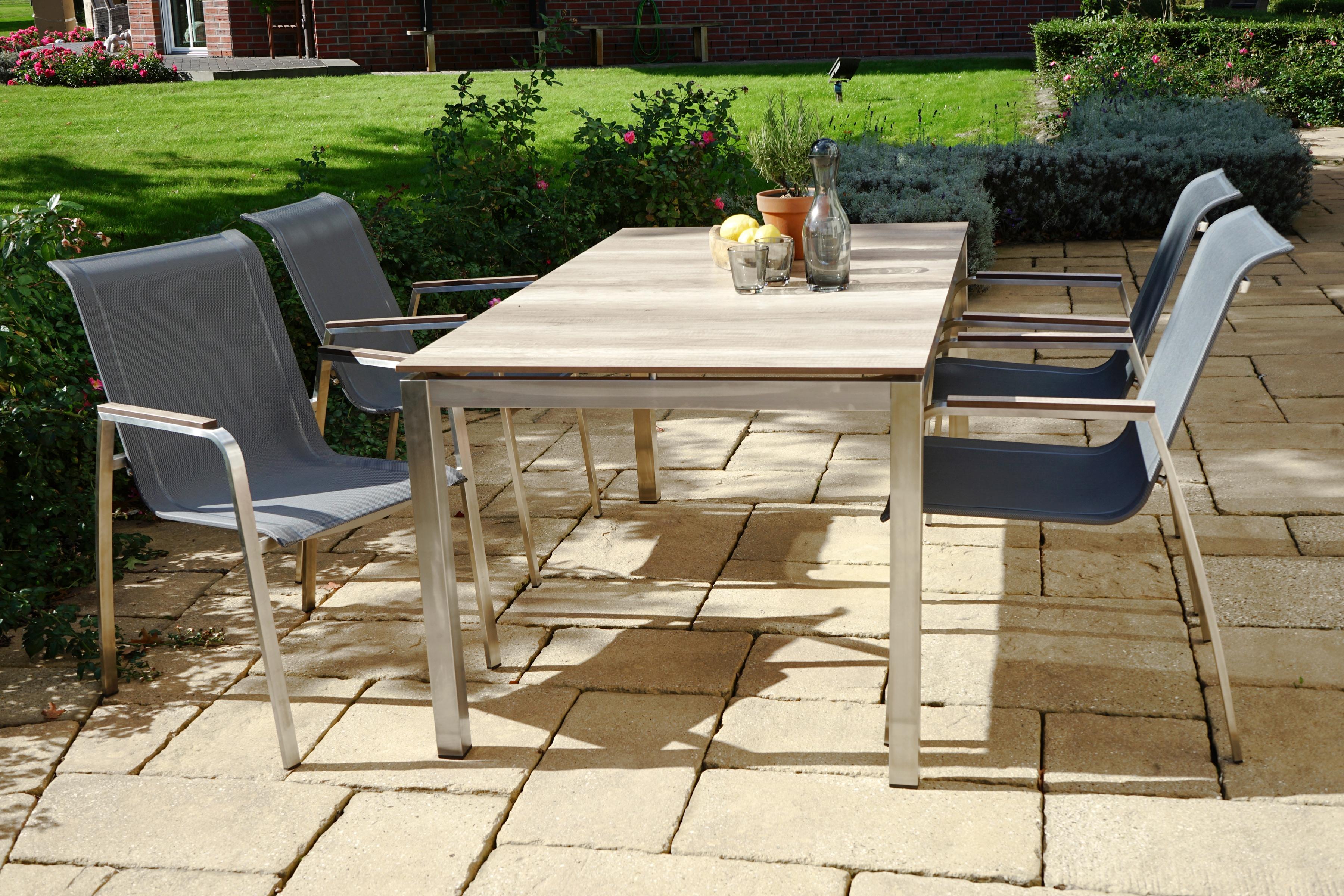 PLOSS Gartenmöbelset Hudson 5-tlg 4 Stühle Tisch 158x90 cm stapelbar Edelstahl