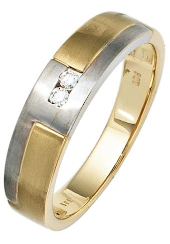 JOBO Diamantring, 585 Gelbgold Weißgold mit 2 Diamanten kaufen